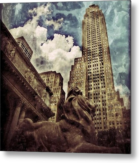 Building Metal Print featuring the photograph The Resting Lion - Nyc by Joel Lopez