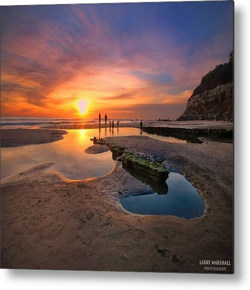 Metal Print featuring the photograph Ultra Low Tide Sunset At A North San by Larry Marshall