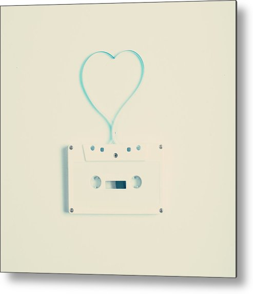 Square Metal Print featuring the photograph White Cassette Tape by Andrea Carolina Photography