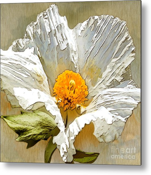 White Flower Metal Print featuring the drawing White Paper Flower by Artist and Photographer Laura Wrede