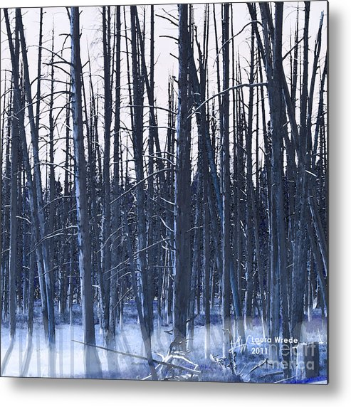 Nature Metal Print featuring the digital art Winter Trees by Artist and Photographer Laura Wrede