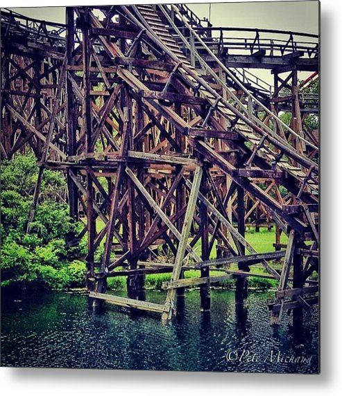 Mobilephotography Metal Print featuring the photograph Wooded #rollercoaster At #cedarpoint In by Pete Michaud