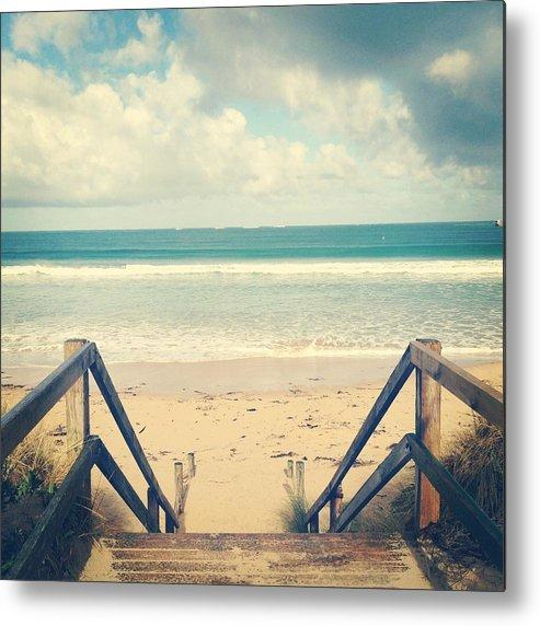 Square Metal Print featuring the photograph Wooden Steps At Beach by Jodie Griggs