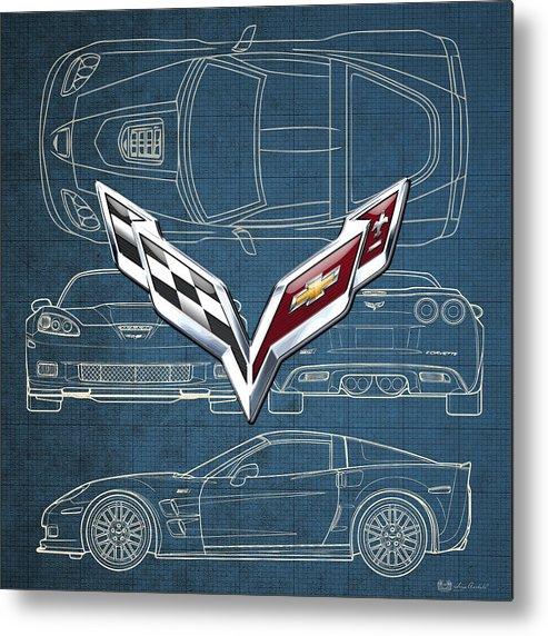 �wheels Of Fortune� By Serge Averbukh Metal Print featuring the photograph Chevrolet Corvette 3 D Badge Over Corvette C 6 Z R 1 Blueprint by Serge Averbukh
