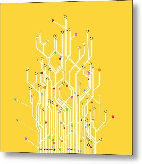 Abstract Metal Print featuring the photograph Circuit Board Graphic by Setsiri Silapasuwanchai