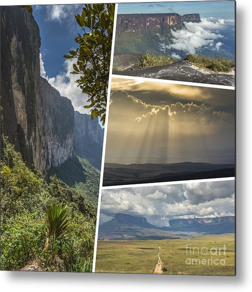 Outdoor Metal Print featuring the photograph Collage Of Table Mountain Roraima by Mariusz Prusaczyk