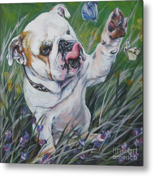 English Bulldog Metal Print featuring the painting English Bulldog by Lee Ann Shepard