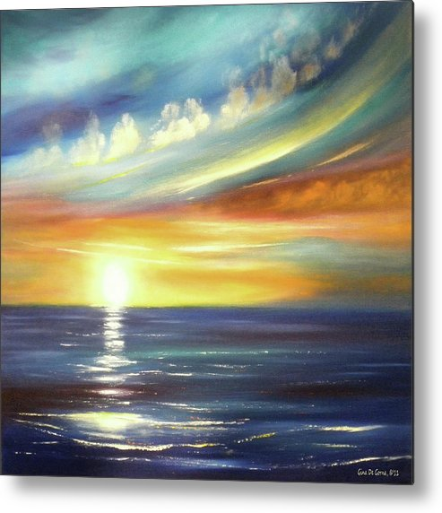 Sunset Metal Print featuring the painting Here It Goes - Square Sunset Painting by Gina De Gorna