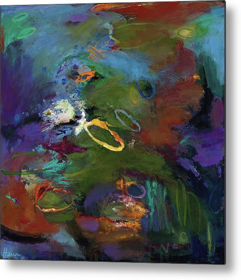 Abstract Expressionistic Metal Print featuring the painting Late Last Night by Johnathan Harris