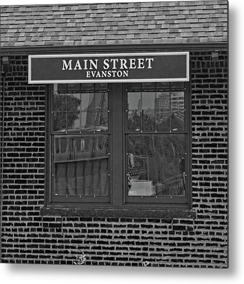 Black And White Metal Print featuring the photograph Main Street Station by Michael Flood