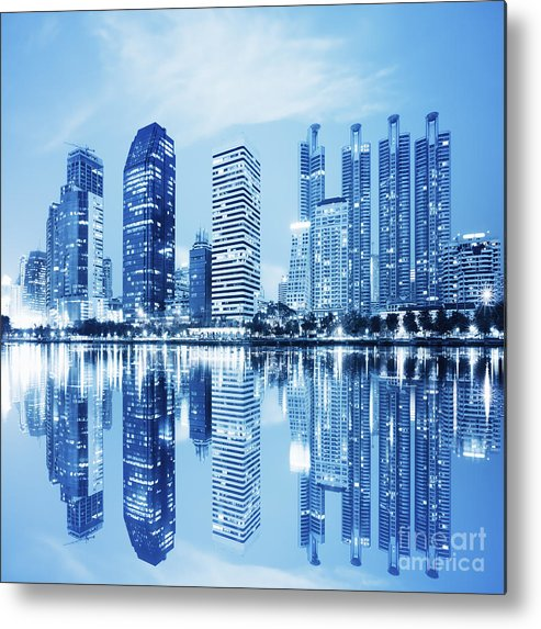 Architecture Metal Print featuring the photograph Night Scenes Of City by Setsiri Silapasuwanchai