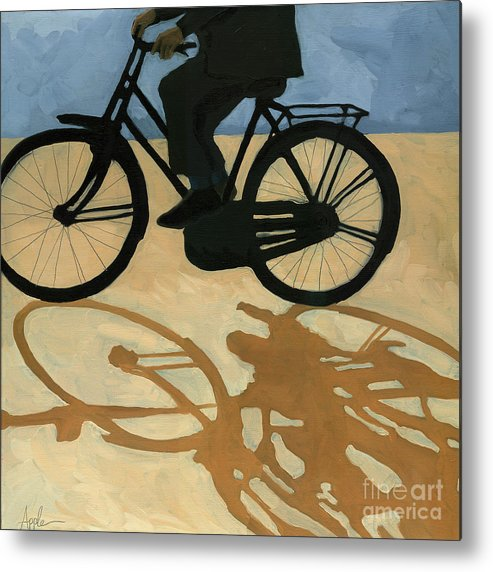 People Paintings Metal Print featuring the painting Off To Work - Painting by Linda Apple