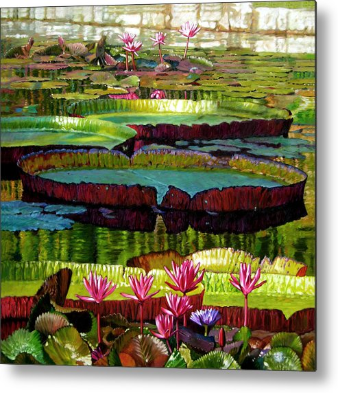 Landscape Metal Print featuring the painting Patterns Of Shadow And Sunlight by John Lautermilch