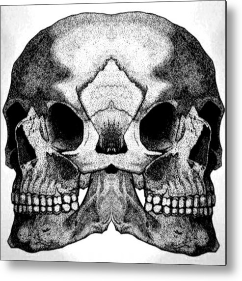 Skull Metal Print featuring the drawing Realistic Of Memory by Yudhit Hadi