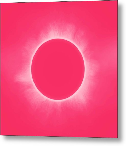 Sun Metal Print featuring the painting Solar Eclipse In Pink Color by Celestial Images