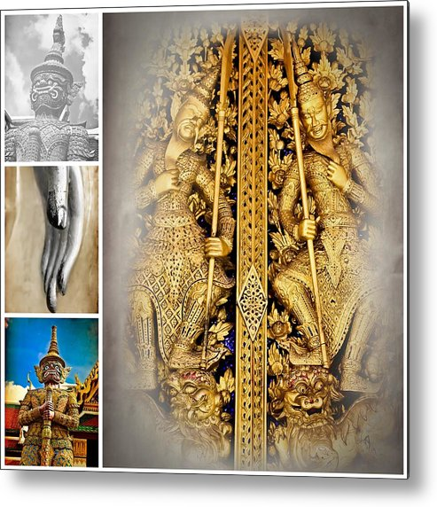 Temple Metal Print featuring the photograph vintage Thai art style by Prasert Chiangsakul