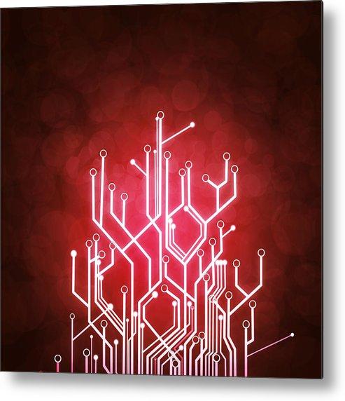 Abstract Metal Print featuring the photograph Circuit Board by Setsiri Silapasuwanchai