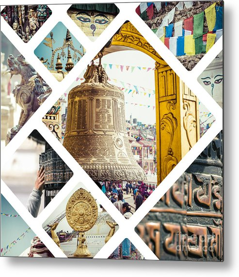 Flag Metal Print featuring the photograph Collage Of Kathmandu by Mariusz Prusaczyk