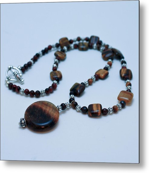 Homemade Metal Print featuring the jewelry 3516 Tiger Eye Necklace by Teresa Mucha