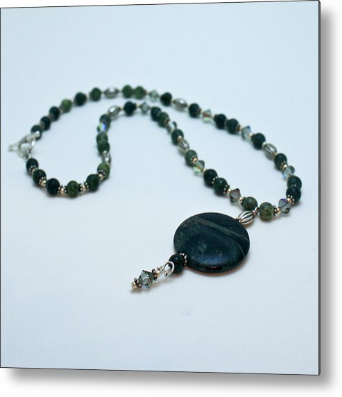 Handmade Metal Print featuring the jewelry 3577 Kambaba And Green Lace Jasper Necklace by Teresa Mucha