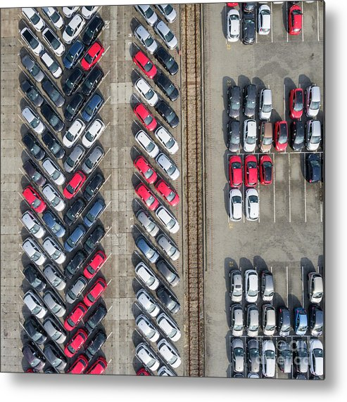 Above Metal Print featuring the photograph Aerial View Lot Of Vehicles On Parking For New Car. by Mariusz Prusaczyk