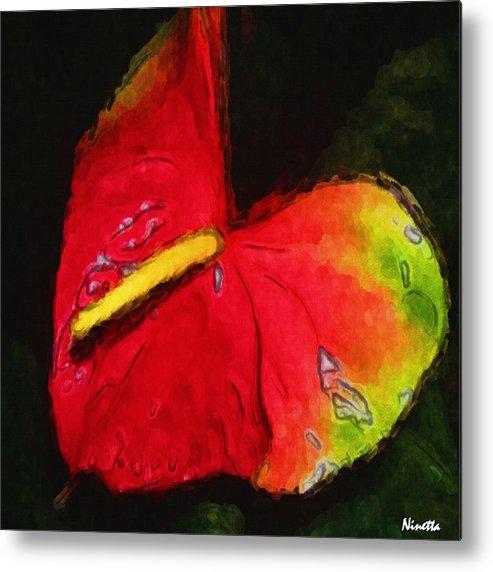 Flower In Poster Metal Print featuring the digital art 6.5 Heart  Artwork In Poster by Andrea N Hernandez