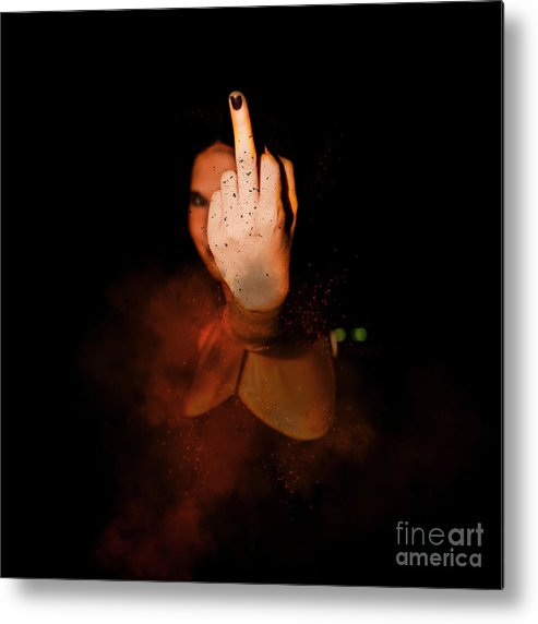 Up Yours Metal Print featuring the photograph An Obscene Hand Sign by Humourous Quotes