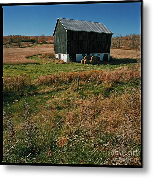 Landscape Country Autumn Fall Color Barn Metal Print featuring the photograph A Barn In Mid Autumn by Ty Lee