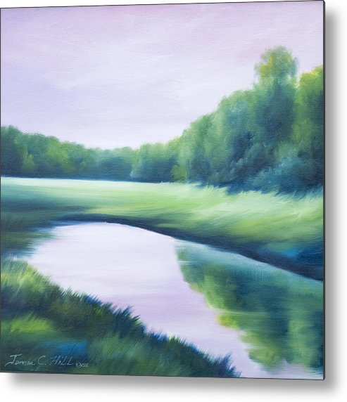 Nature; Lake; Sunset; Sunrise; Serene; Forest; Trees; Water; Ripples; Clearing; Lagoon; James Christopher Hill; Jameshillgallery.com; Foliage; Sky; Realism; Oils; Green; Tree; Blue; Pink; Pond; Lake Metal Print featuring the painting A Day In The Life 1 by James Christopher Hill