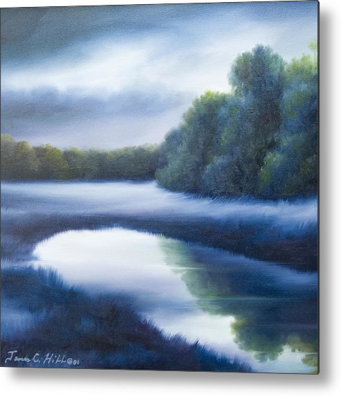 Nature; Lake; Sunset; Sunrise; Serene; Forest; Trees; Water; Ripples; Clearing; Lagoon; James Christopher Hill; Jameshillgallery.com; Foliage; Sky; Realism; Oils; Green; Tree; Blue; Pink; Pond; Lake Metal Print featuring the painting A Day In The Life 4 by James Christopher Hill