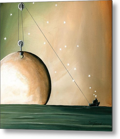 Moon Metal Print featuring the painting A Solar System by Cindy Thornton