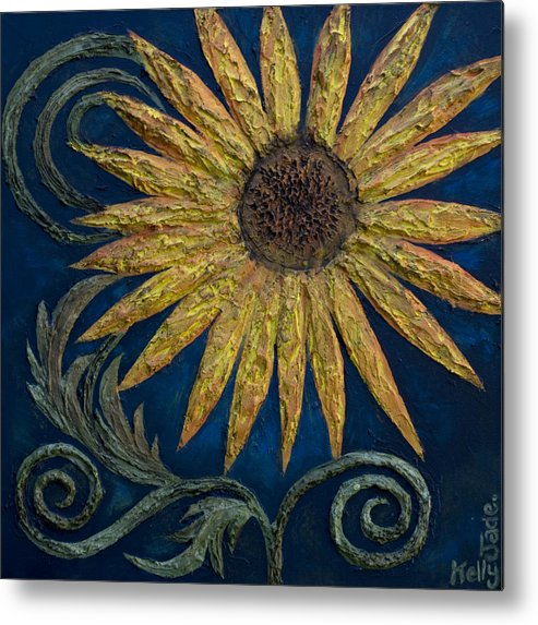Sunflower Metal Print featuring the painting A Sunflower by Kelly Jade King