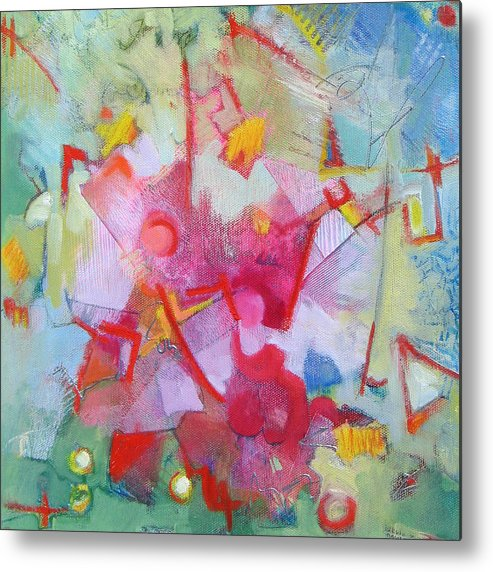 Abstract Metal Print featuring the painting Abstract 2 With Inscribed Red by Susanne Clark