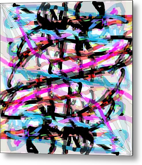 Abstract Metal Print featuring the digital art Abstract Pink by Blind Ape Art