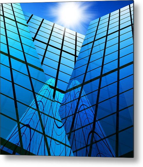 Abstract Metal Print featuring the photograph Abstract Skyscrapers by Setsiri Silapasuwanchai