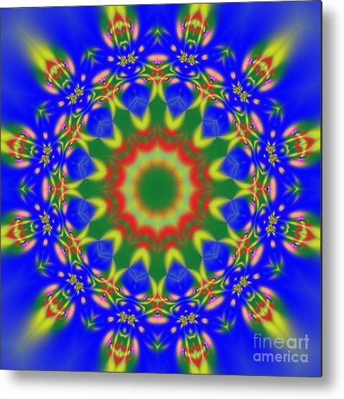 Sun Metal Print featuring the mixed media Abstract Sun 070908010102 by Rolf Bertram
