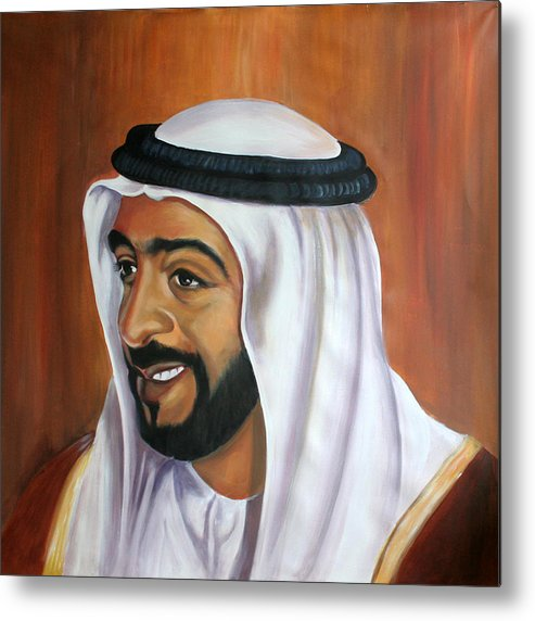 Portrait Metal Print featuring the painting Abu Dhabi by Fiona Jack
