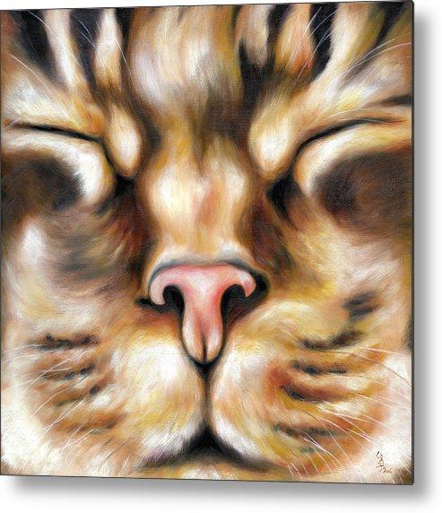 Cat Metal Print featuring the painting Afternoon by Hiroko Sakai