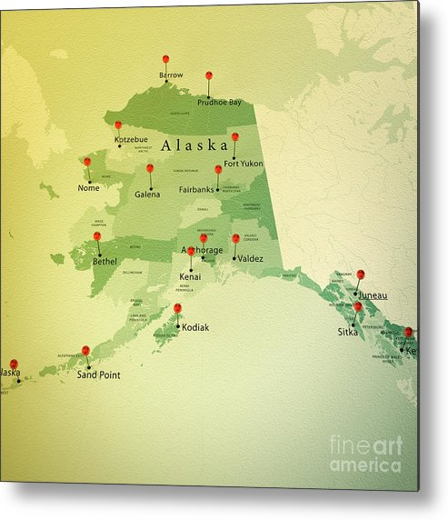 Cartography Metal Print featuring the photograph Alaska Map Square Cities Straight Pin Vintage by Frank Ramspott