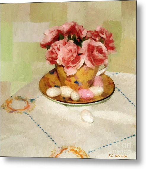 Almonds Metal Print featuring the painting Almond Blossom Tea by RC DeWinter
