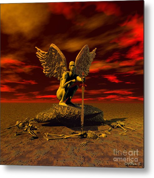 Fantasy Metal Print featuring the digital art Angel Of Death by Walter Oliver Neal