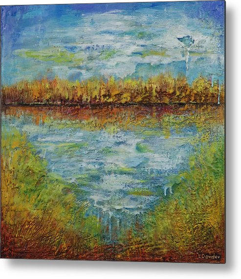 Water Metal Print featuring the painting Another Lake. by Evgenia Davidov