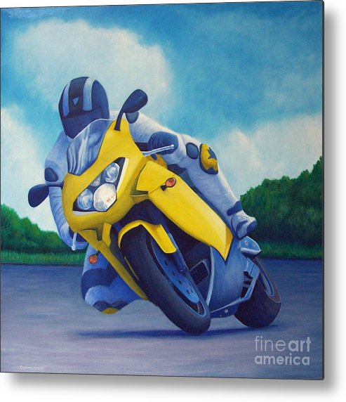 Motorcycle Metal Print featuring the painting Aprilla - Tuesday Afternoon by Brian Commerford