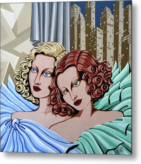 Portrait Metal Print featuring the painting Arielle And Gabrielle by Tara Hutton