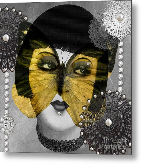 Art Deco Metal Print featuring the digital art Art Deco Butterfly Woman by Mindy Sommers