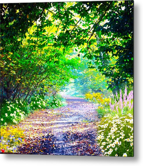 Digital Metal Print featuring the digital art Art Rendered Country Pathway by Clive Littin