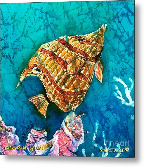 Beaked Butterflyfish Metal Print featuring the painting Ascending by Sue Duda