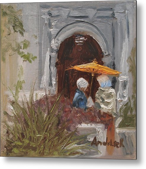 Parks Metal Print featuring the painting At Balboa Park by Barbara Andolsek