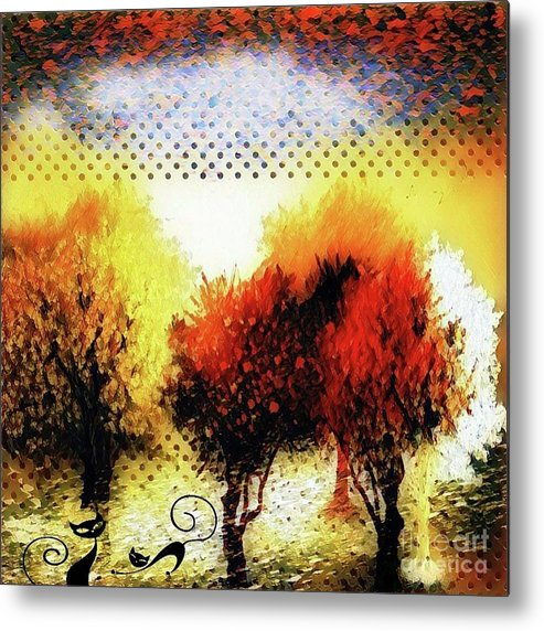 Collage Metal Print featuring the digital art Autumn With Cat Focus by Swedish Attitude Design