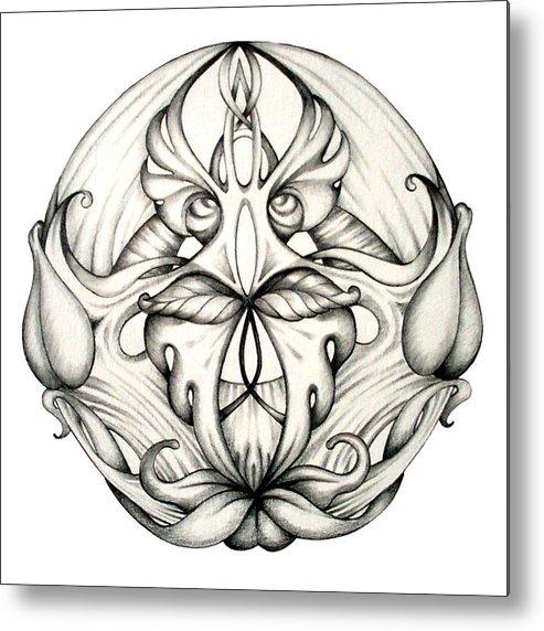 Mandala Metal Print featuring the drawing Awakening by Shadia Derbyshire